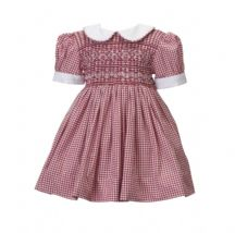 Red hand smocked dress